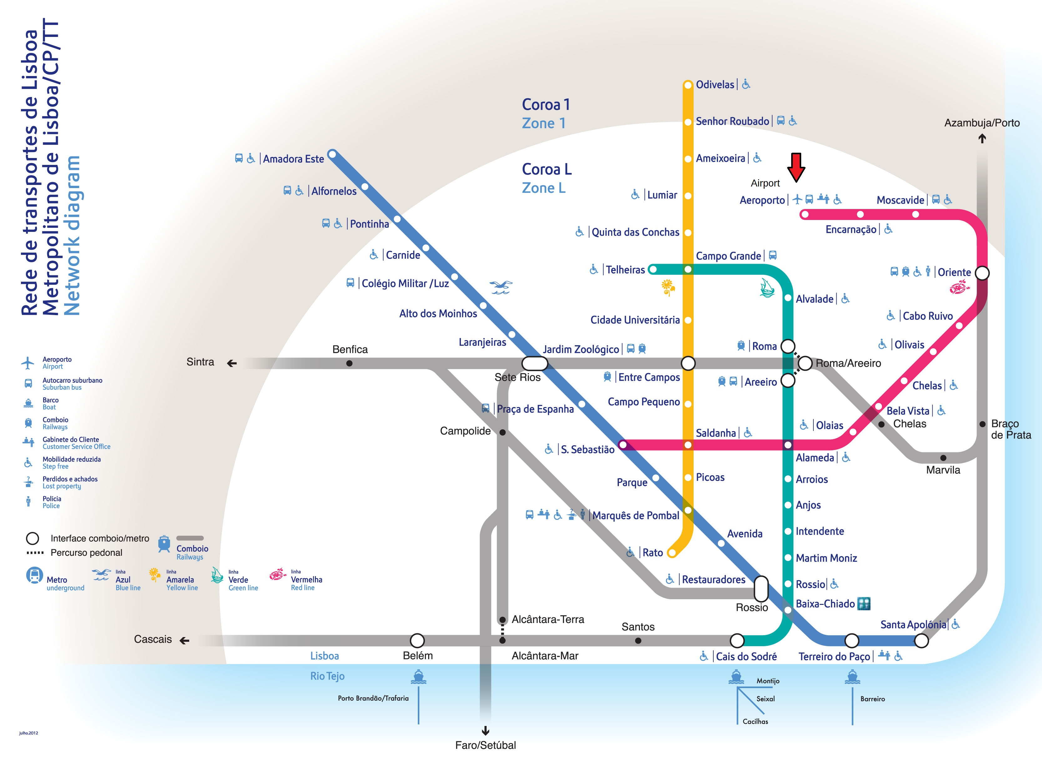Diagrama da Rede Metropolitano de Lisboa