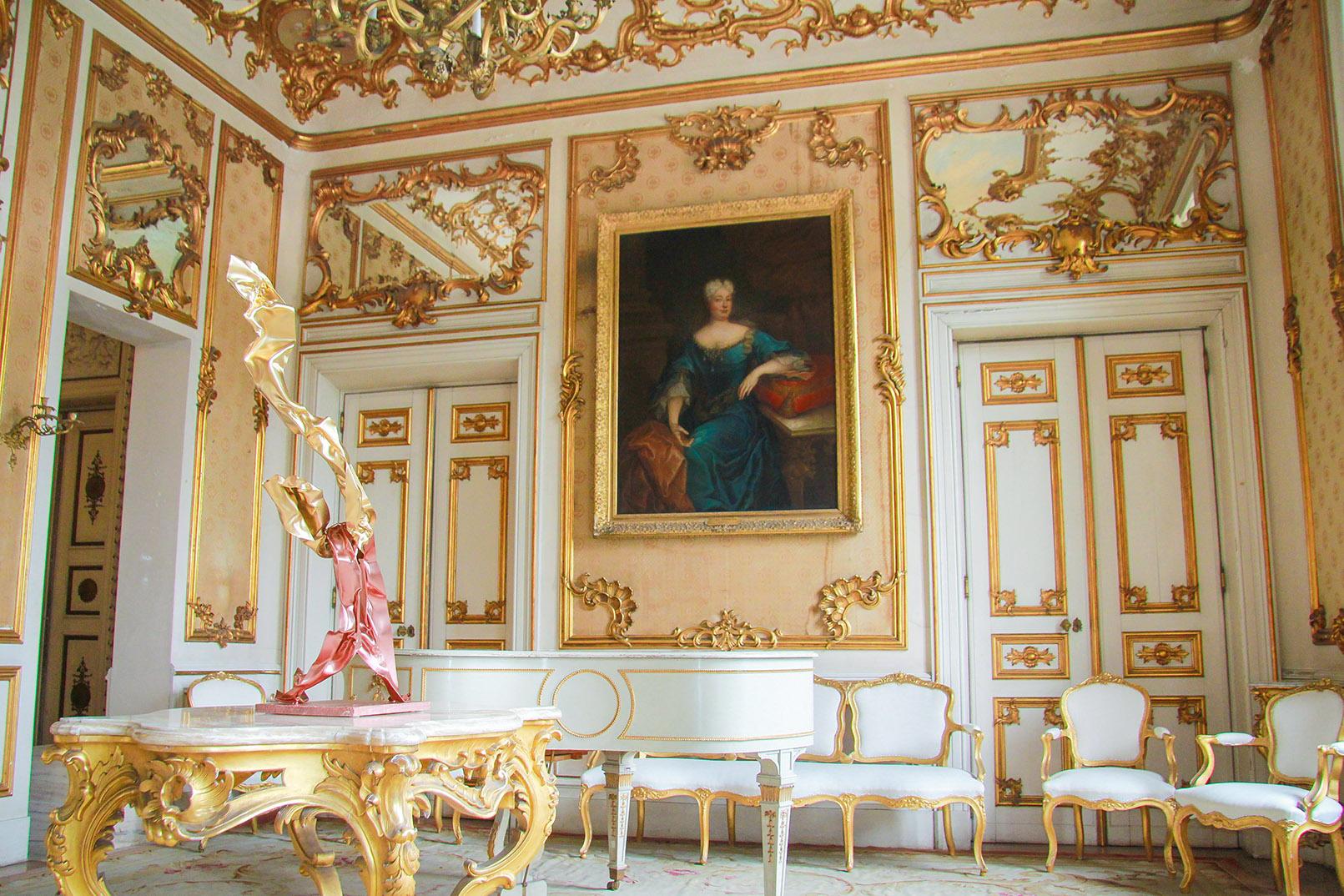 Salão Luis XV palacete Mendonça, exposição Miguel Rodrigues, Aga Khan Portugal